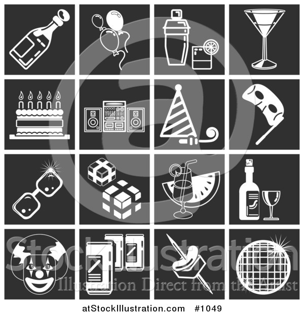Vector Illustration of White Party Related Icons over a Square Black Background