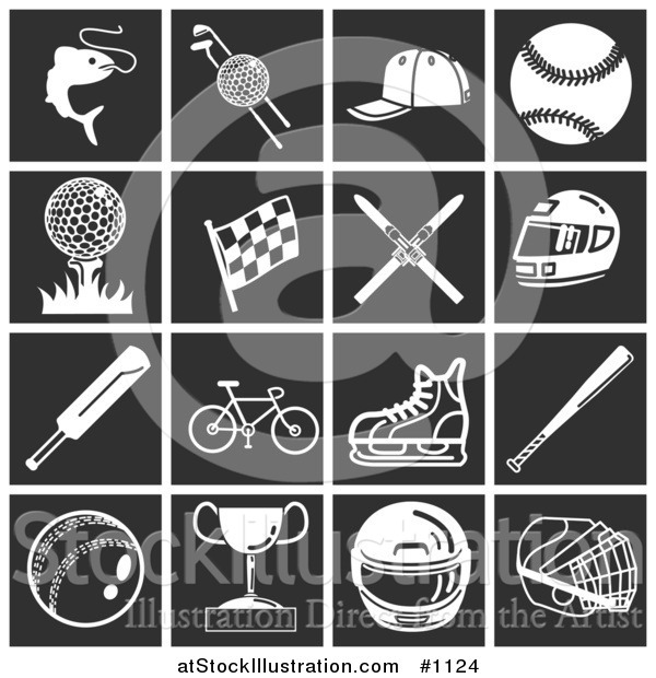Vector Illustration of White Sports Icons over a Black Background, Including Fishing, Golfing, Baseball, Racing, Skiing, Motorsports, Bicycling, Cricket, and Ice Skating