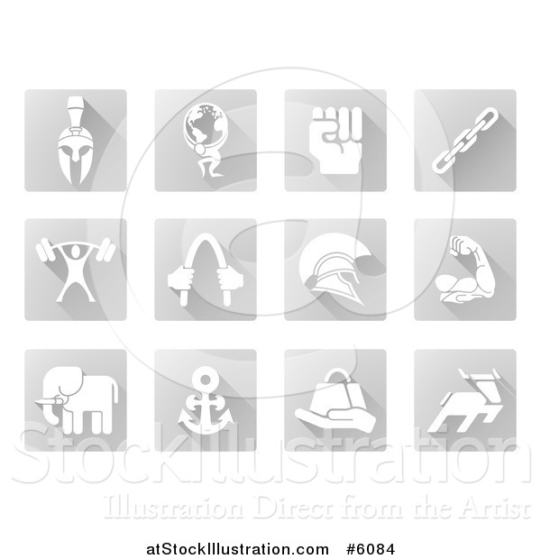 Vector Illustration of White Strength Icons on Gray Tiles