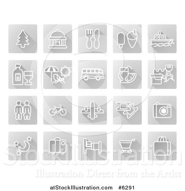 Vector Illustration of White Tourist Icons on Gray Squares