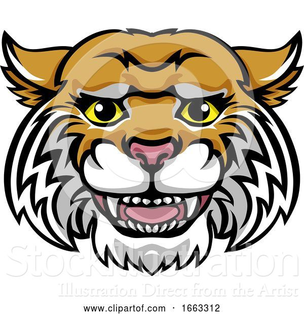 Vector Illustration of Wildcat Mascot Cute Happy Character