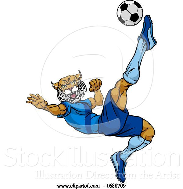Vector Illustration of Wildcat Soccer Football Player Sports Mascot