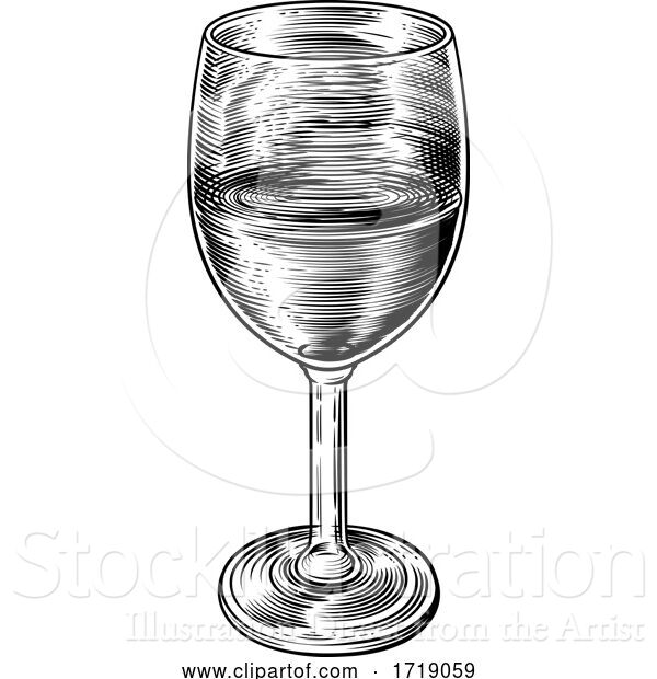 Vector Illustration of Wine Glass Retro Vintage Woodcut Etching Style