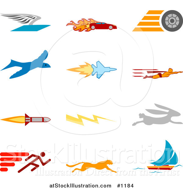 Vector Illustration of Winged Envelope, Flaming Race Car, Tire, Blue Dove, Flying Jet, Super Hero, Rocket, Lightning Bolt, Rabbit, Runner, Cheetah and Sailboat, over a White Background