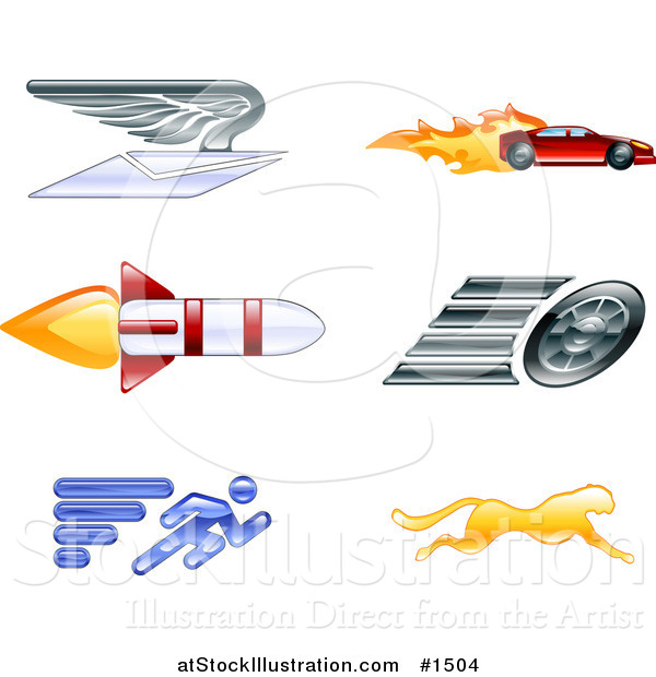 Vector Illustration of Winged Envelope, Sports Car, Rocket, Tire, Sprinter and Cheetah