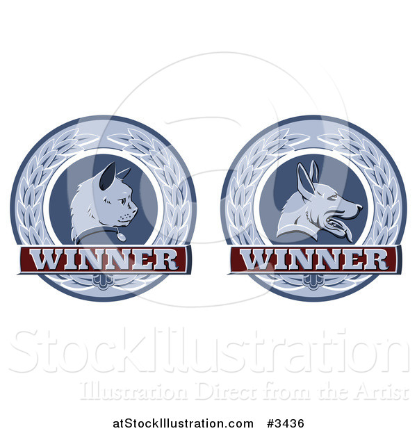 Vector Illustration of Winner Cat and Dog Laurel Wreath Pet Award Medals