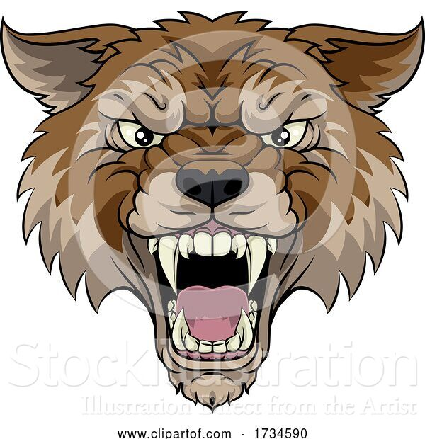 Vector Illustration of Wolf or Werewolf Monster Scary Dog Angry Mascot