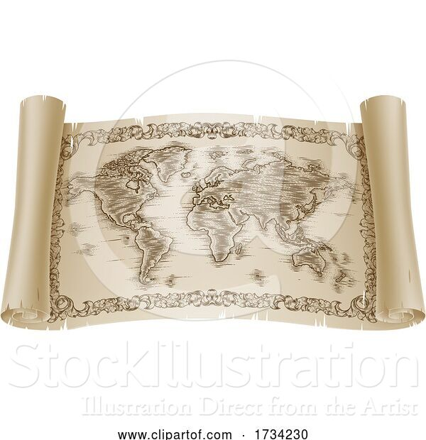 Vector Illustration of World Map Drawing Old Woodcut Engraved Scroll
