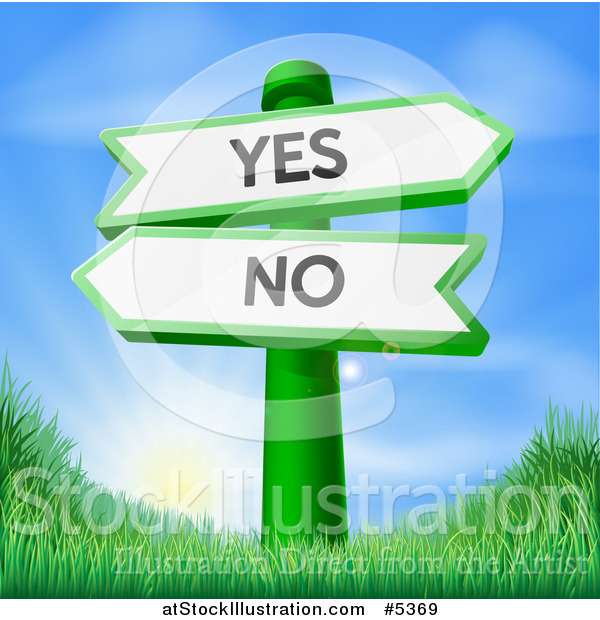 Vector Illustration of Yes and No Arrow Signs over Grass at Sunrise