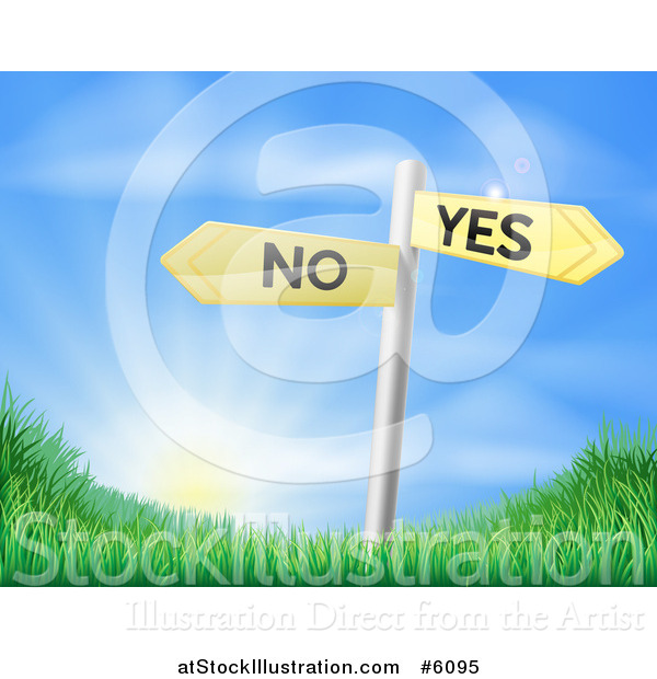 Vector Illustration of Yes and No Street Signs over Grass at Sunrise