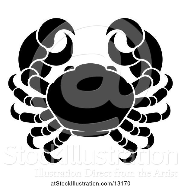 Vector Illustration of Zodiac Horoscope Astrology Cancer Crab Design, Black and White