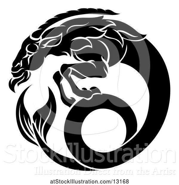Vector Illustration of Zodiac Horoscope Astrology Capricorn Sea Goat Design in Black and White