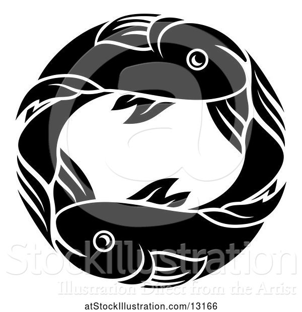 Vector Illustration of Zodiac Horoscope Astrology Pisces Fish Circle Design in Black and White