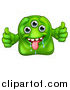 Illustration of a Drooling Three Eyed Green Alien or Monster Giving Two Thumbs up by AtStockIllustration