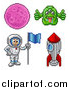 Illustration of Retro 8 Bit Pixel Art Video Game Styled Astronaut, Rocket, Alien and Planet by AtStockIllustration
