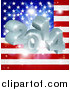 Vector Illustration of 3d 2014 and Fireworks over an American Flag by AtStockIllustration