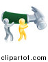 Vector Illustration of 3d Gold and Silver Men Carrying a Giant Green Handled Hammer to the Right by AtStockIllustration