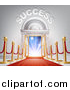 Vector Illustration of 3d SUCCESS over Open Doors with a Red Carpet, Posts and Light by AtStockIllustration