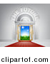 Vector Illustration of 3d the Future Text over a Door with a Red Carpet, Sunshine and Grass by AtStockIllustration