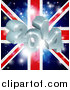 Vector Illustration of a 3d 2014 and Fireworks over a Union Jack Flag by AtStockIllustration