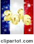 Vector Illustration of a 3d 2016 and Fireworks over a French Flag by AtStockIllustration