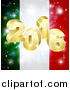 Vector Illustration of a 3d 2016 and Fireworks over an Italian Flag by AtStockIllustration