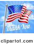 Vector Illustration of a 3d American Flag and Thank You Text over a Blue Sky for Memorial or Veterans Day by AtStockIllustration
