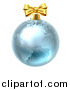 Vector Illustration of a 3d Blue Earth Globe Christmas Bauble with a Gold Bow by AtStockIllustration
