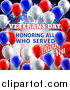 Vector Illustration of a 3d Border of Patriotic Balloons over an American Themed Background with Veterans Day Honoring All Who Served Thank You Text by AtStockIllustration