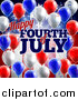 Vector Illustration of a 3d Border of Red White and Blue Party Balloons and Streamers over a Patriotic American Themed Flag and Happy Fourth of July Text by AtStockIllustration