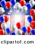 Vector Illustration of a 3d Border of Red White and Blue Party Balloons and Streamers over a Patriotic American Themed Flag by AtStockIllustration