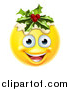 Vector Illustration of a 3d Christmas Pudding Yellow Smiley Emoji Emoticon Face by AtStockIllustration