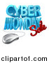 Vector Illustration of a 3d Computer Mouse and Cyber Monday Sale Design in Blue and Red by AtStockIllustration