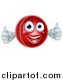 Vector Illustration of a 3d Cricket Ball Mascot Character Giving Two Thumbs up by AtStockIllustration