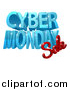 Vector Illustration of a 3d Cyber Monday Sale Design in Blue and Red by AtStockIllustration