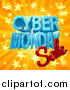 Vector Illustration of a 3d Cyber Monday Sale Design in Blue and Red over a Star Burst by AtStockIllustration