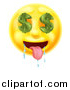Vector Illustration of a 3d Drooling Yellow Male Smiley Emoji Emoticon Face with Dollar Symbol Eyes by AtStockIllustration