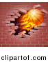 Vector Illustration of a 3d Flying and Blazing Basketball with a Trail of Flames, Breaking Through a Brick Wall by AtStockIllustration