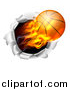 Vector Illustration of a 3d Flying and Blazing Basketball with a Trail of Flames, Breaking Through a Wall by AtStockIllustration