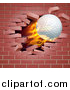 Vector Illustration of a 3d Flying and Blazing Golf Ball Breaking Through a Brick Wall by AtStockIllustration
