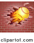 Vector Illustration of a 3d Flying and Blazing Softball with a Trail of Flames, Breaking Through a Brick Wall by AtStockIllustration