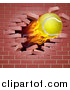 Vector Illustration of a 3d Flying and Blazing Tennis Ball with a Trail of Flames, Breaking Through a Brick Wall by AtStockIllustration