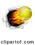 Vector Illustration of a 3d Flying and Blazing Tennis Ball with a Trail of Flames, Breaking Through a Wall by AtStockIllustration