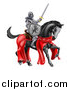 Vector Illustration of a 3d Full Armored Medieval Knight on a Black Horse, Holding a Sword and Shield by AtStockIllustration