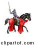 Vector Illustration of a 3d Full Armored Medieval Knight on a Black Horse, Holding up a Sword by AtStockIllustration