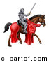 Vector Illustration of a 3d Full Armored Medieval Knight on a Brown Horse, Holding a Sword by AtStockIllustration