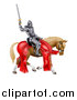 Vector Illustration of a 3d Full Armored Medieval Knight on a Brown Horse, Holding up a Sword by AtStockIllustration