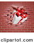 Vector Illustration of a 3d Gift Box Breaking Through a Brick Wall by AtStockIllustration