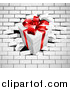 Vector Illustration of a 3d Gift Box Breaking Through a White Brick Wall by AtStockIllustration