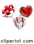 Vector Illustration of a 3d Gift Box with a Red Heart Springing out by AtStockIllustration